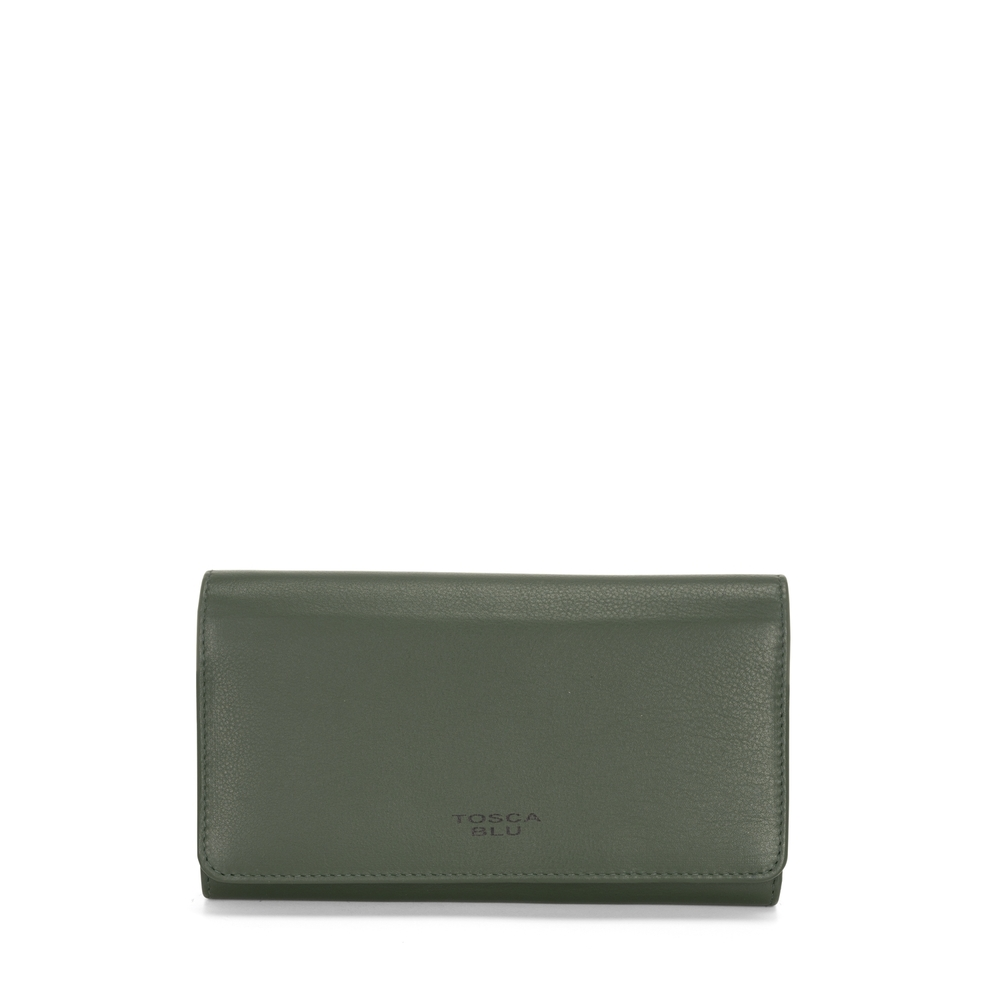 Tosca Blu-Basic Wallets Large leather wallet with flap