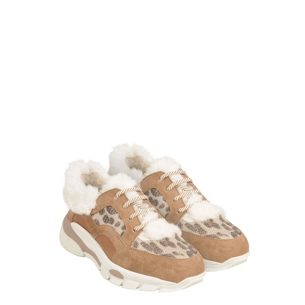 Tosca Blu Studio-Unicorno Leather, faux fur and fabric sneaker