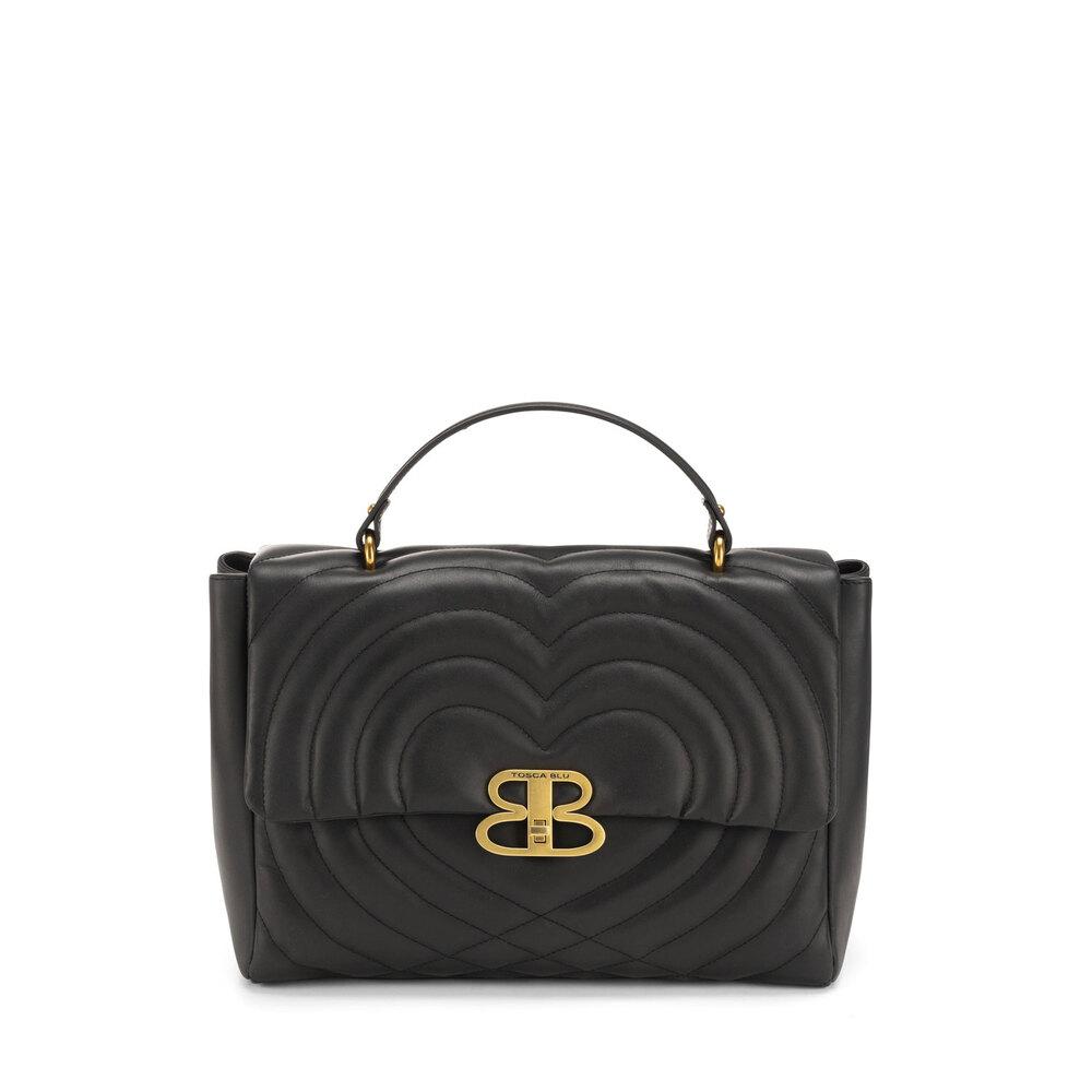 Tosca Blu-Regina Di Cuori Large quilted leather handbag