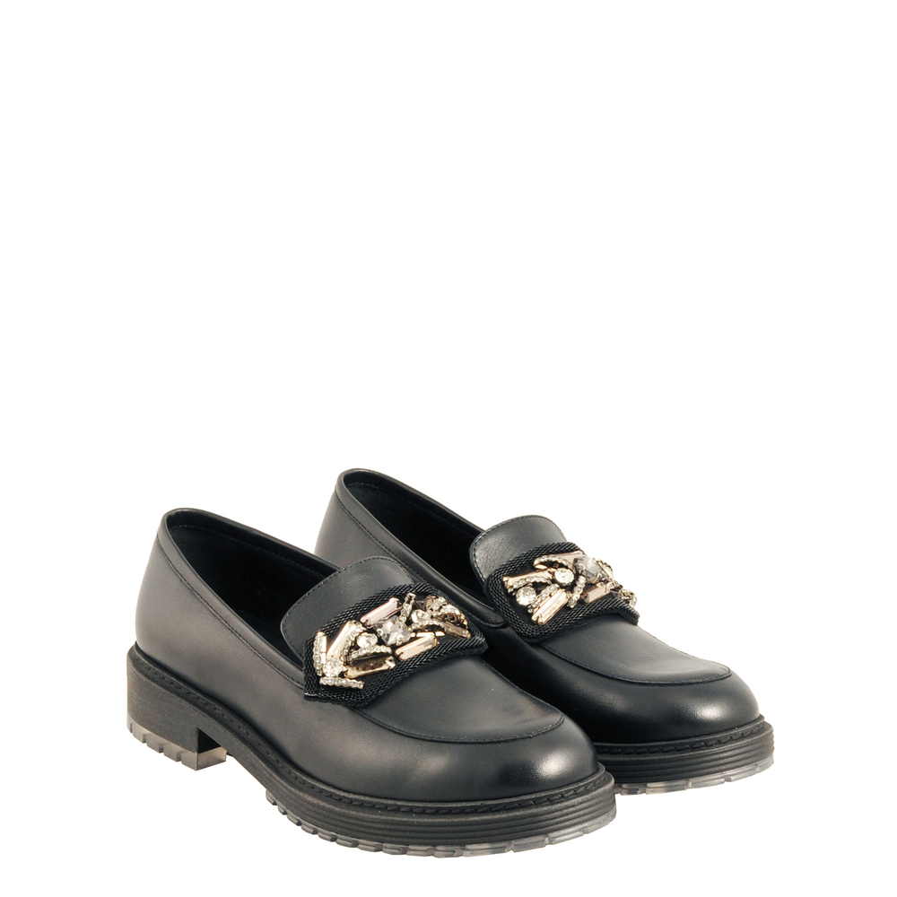 Tosca Blu Studio-Candy Leather loafer with jewel details