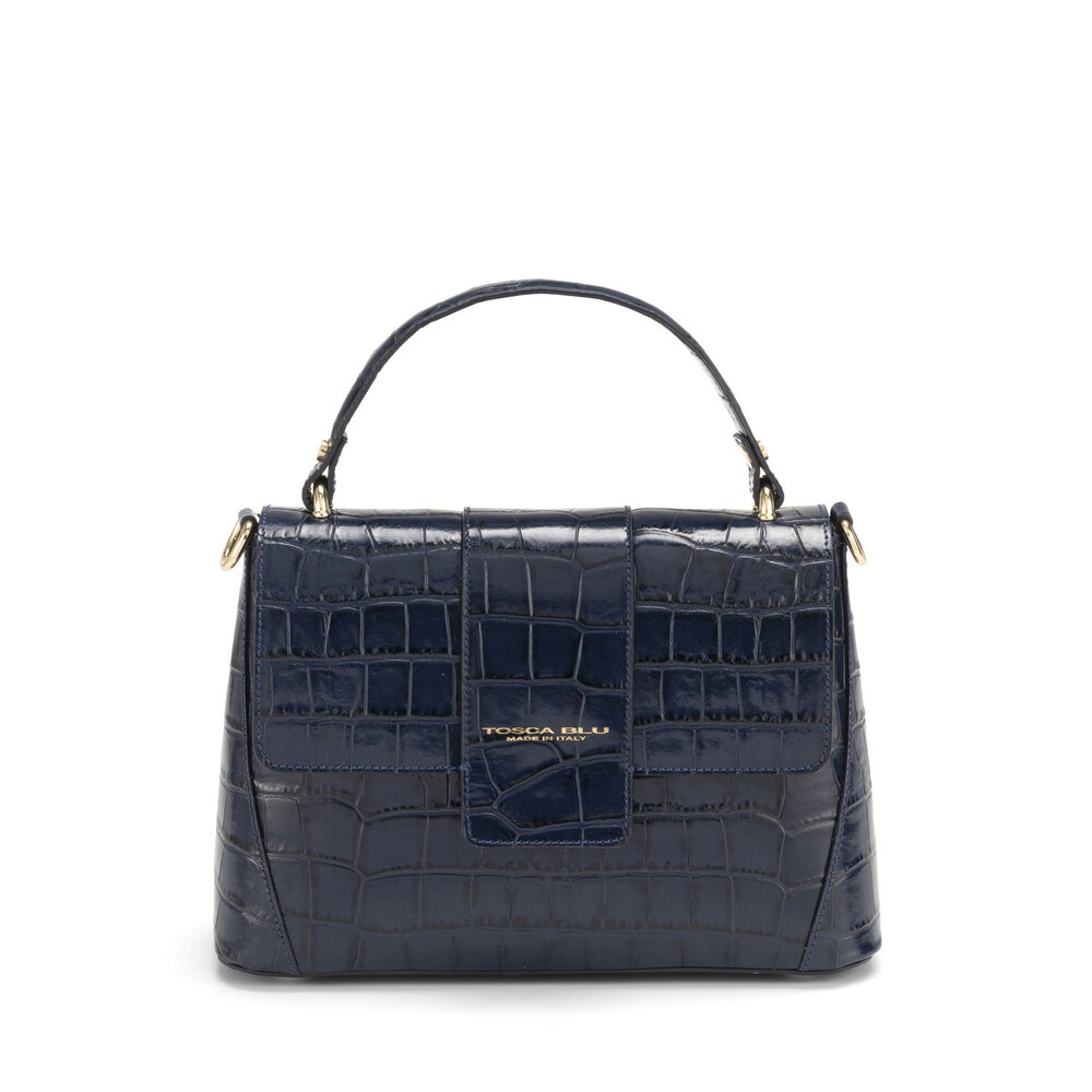 Tosca Blu-Tic-Tac Leather handbag with crocodile print