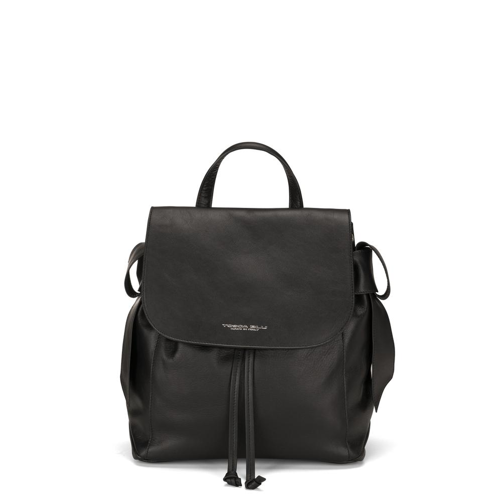 Tosca Blu-Sottobosco Leather backbag with decorative bows