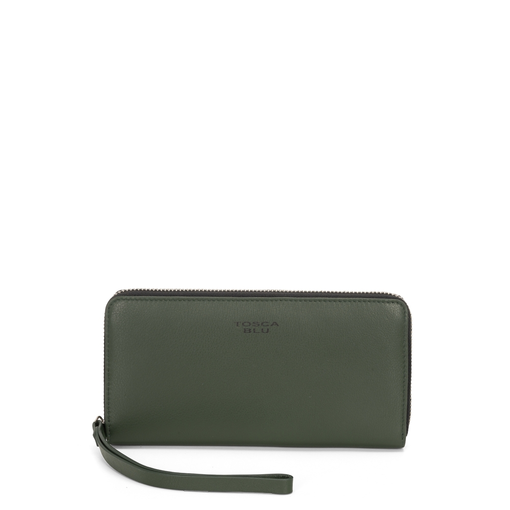 Tosca Blu-Basic Wallets Large leather wallet with logo