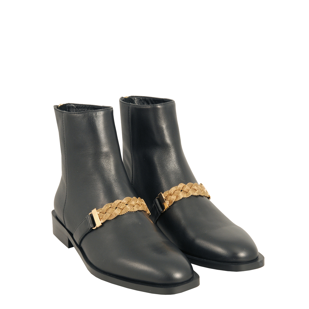 Tosca Blu Studio-Barbablu Leather ankle boot with chain