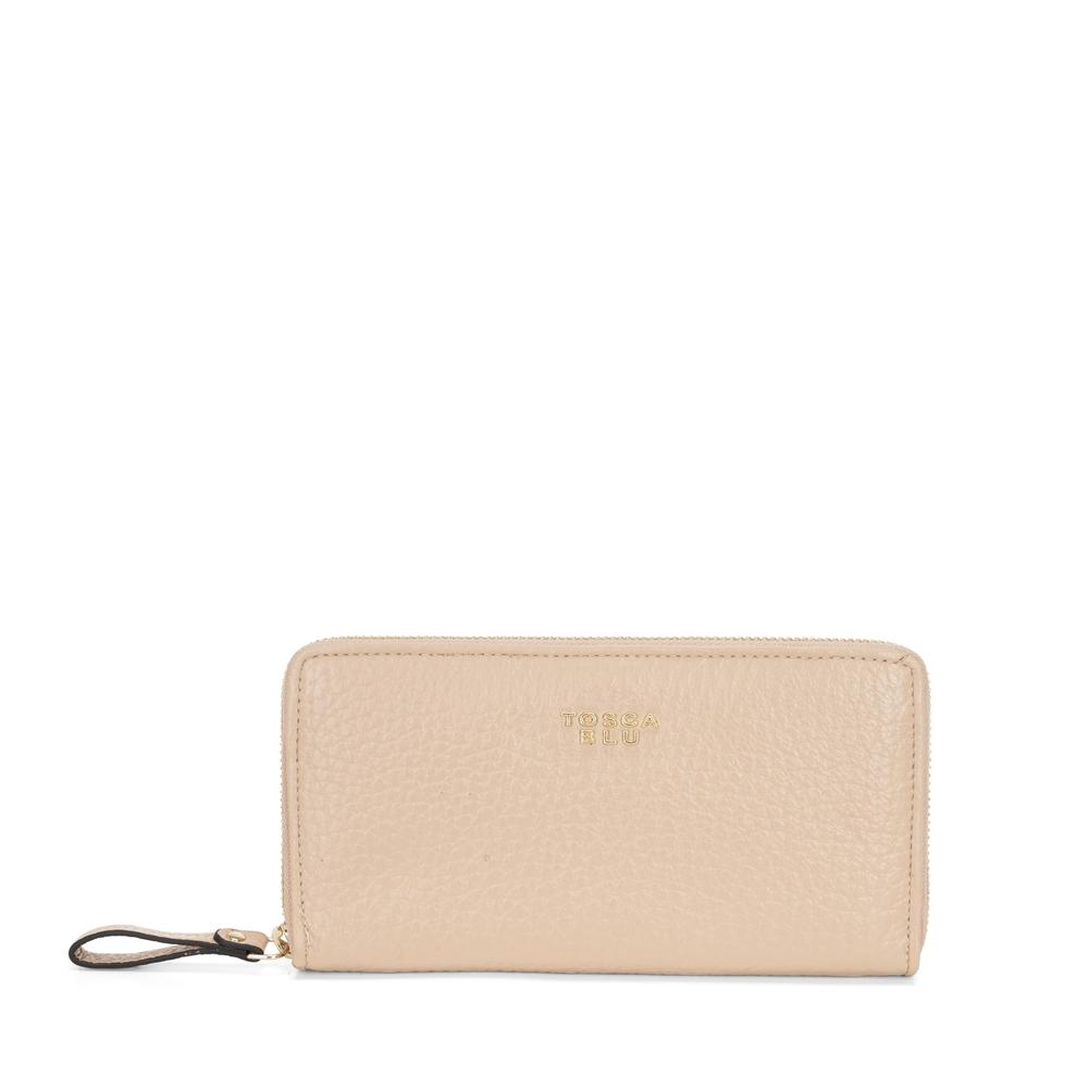 Hansel E Gretel Large tumbled leather wallet with logo, powder