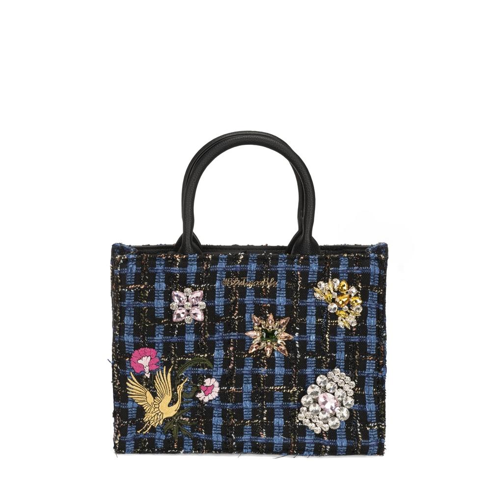 #BluToscaBlu-Cambridge Handbag with embroidery and jewel details