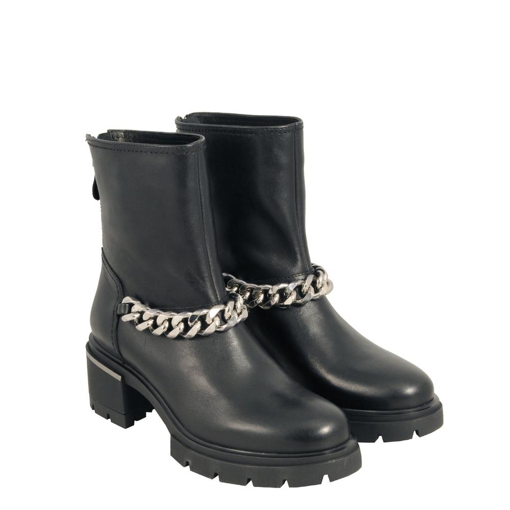 Tosca Blu Studio-Gnomo Leather medium-heel ankle boot with chain