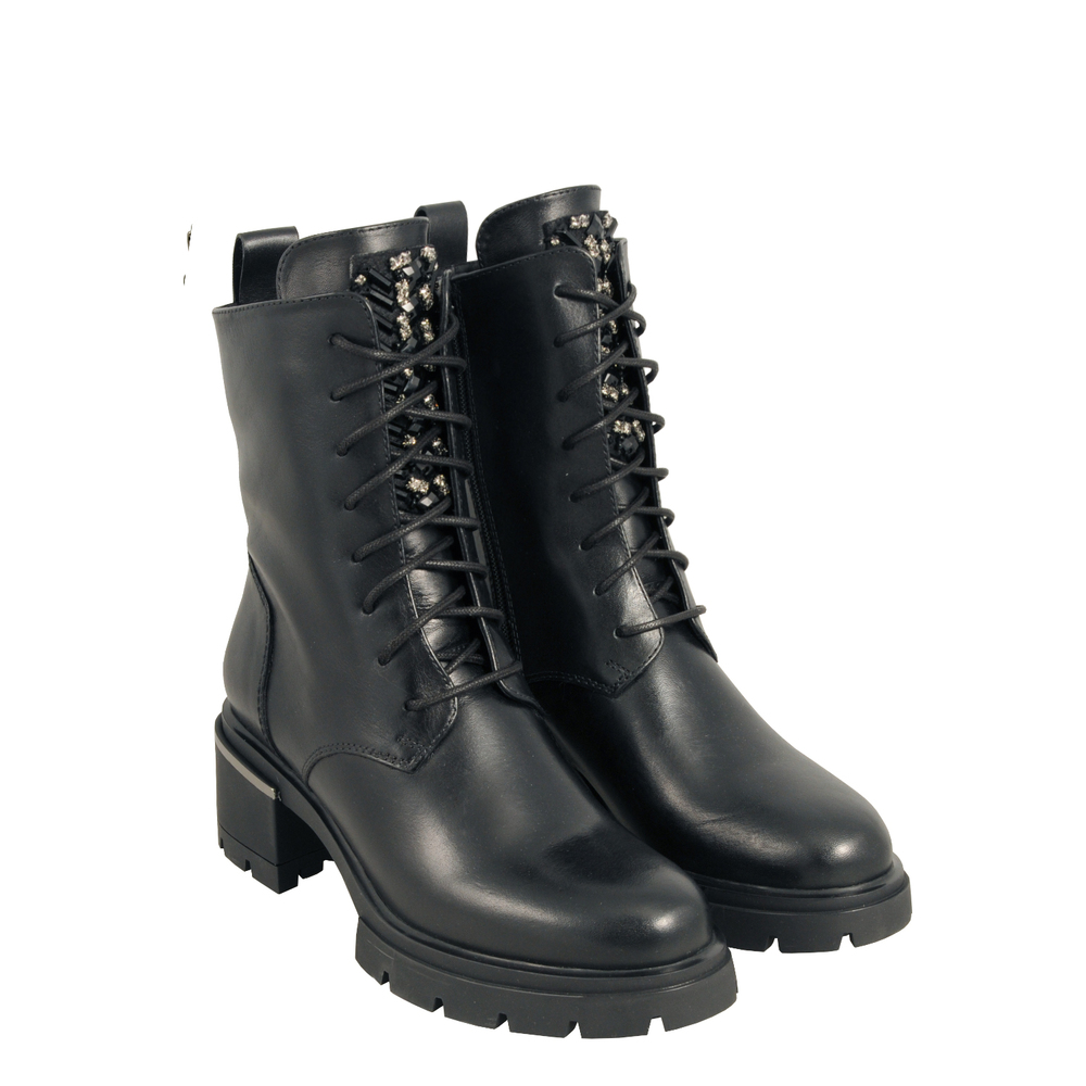 Tosca Blu Studio-Gnomo Leather medium-heel ankle boot with jewel details