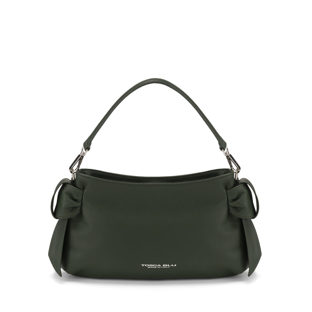 Tosca Blu-Sottobosco Small leather crossbody bag with decorative bows
