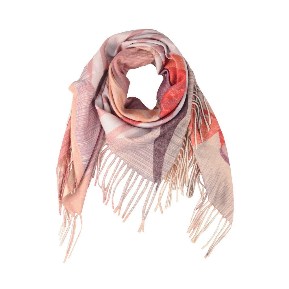 Tosca Blu-Betulla Two-tone striped scarf with fringes