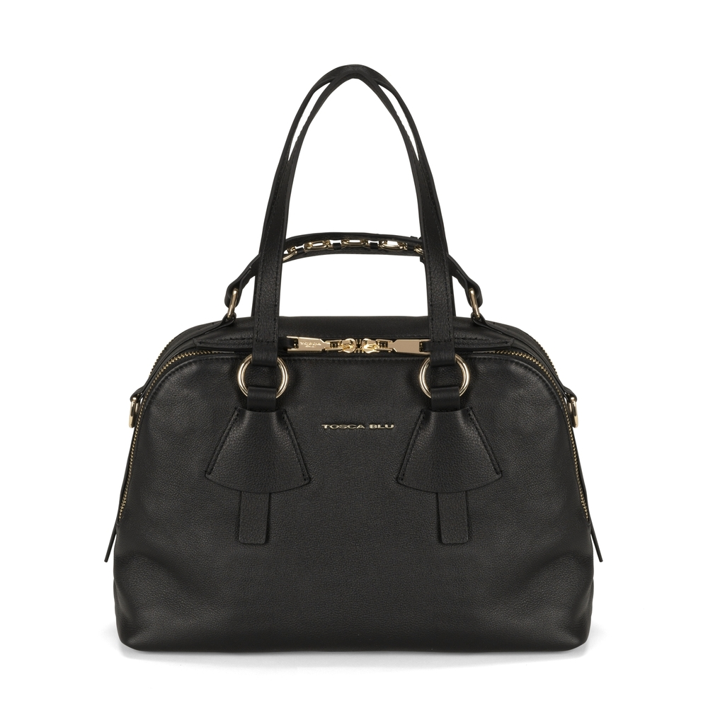 Tosca Blu-Lampone Tumbled leather boston bag