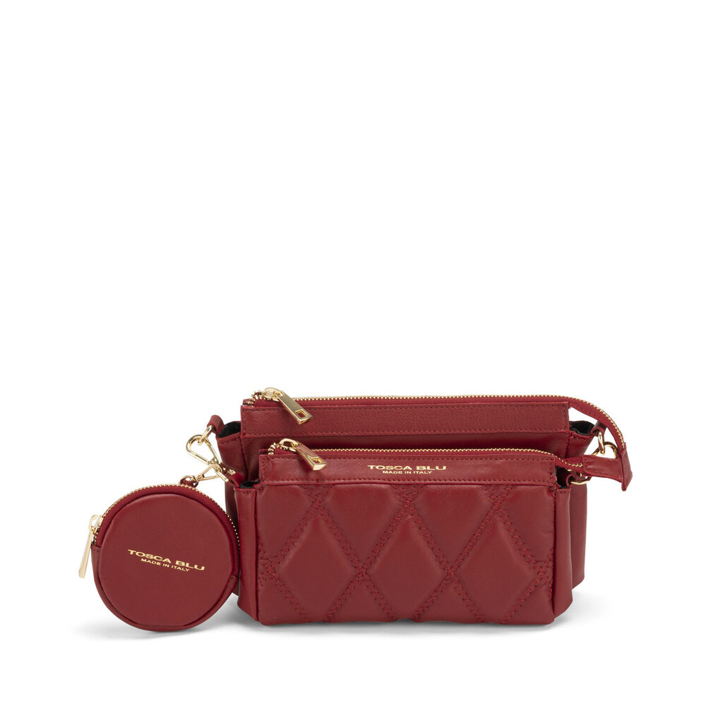 Tosca Blu-Cappuccetto Rosso Double quilted leather crossbody bag