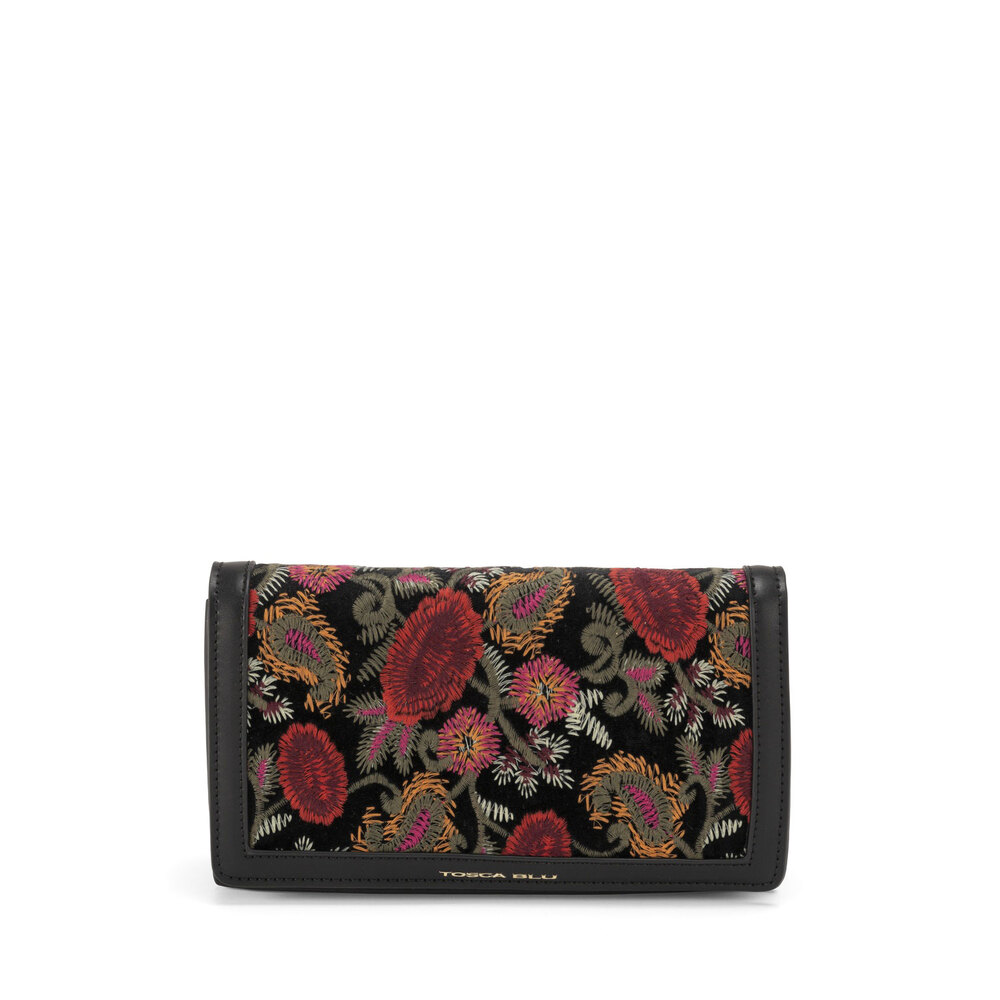 Tosca Blu-Tris Clutch bag with embroidered panel