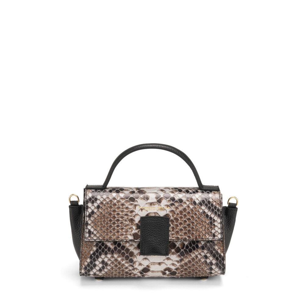 Tosca Blu-Ghianda Leather handbag with snakeskin print