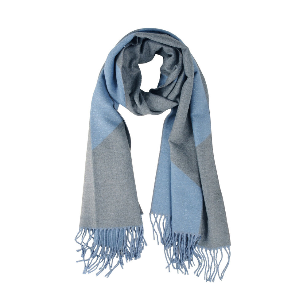 Tosca Blu-Ranuncolo Two-tone checkered scarf with fringes