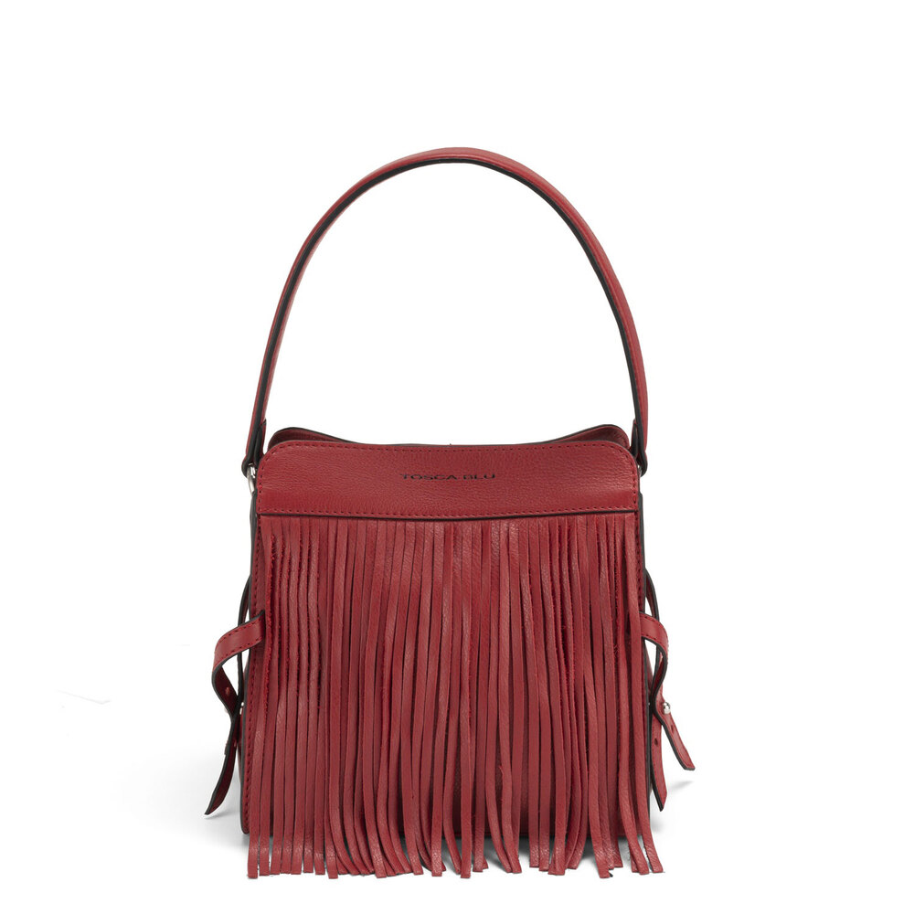 Tosca Blu-Magia Small leather shoulder bag with fringes