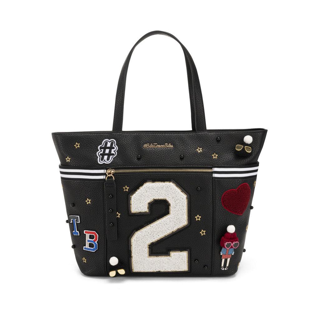 #BluToscaBlu-Yale Tote bag with appliqués