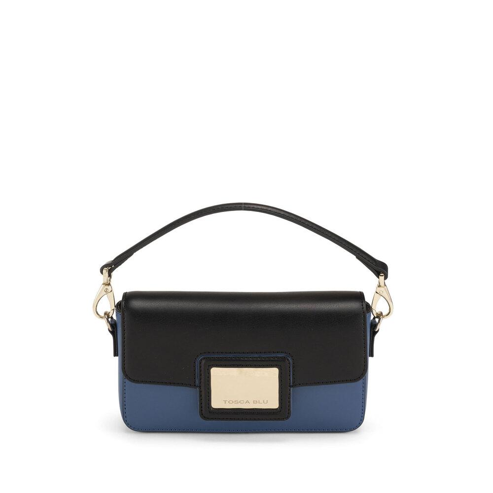 Tosca Blu-Fata Turchina Small bicolour leather shoulder bag