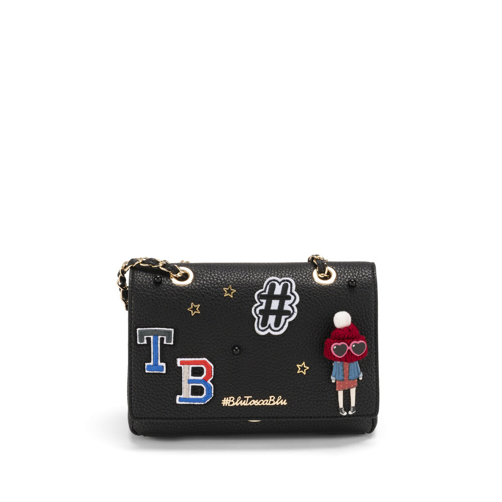 #BluToscaBlu-Yale Crossboby bag with appliqués and chain